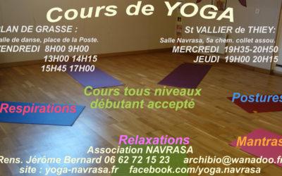 Cours de Yoga à Grasse et Saint-Vallier de Thiey : rentrée 2019